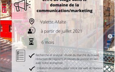Offre de stage en communication/marketing à Malte !