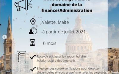 Offre de stage en finance/administration à Malte !