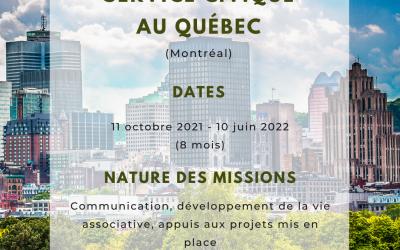 Offre de service civique à Montréal !