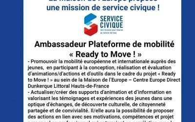 [Service Civique] – Ambassadeur·drice de la mobilité européenne et internationale – Maison de l'Europe Dunkerque