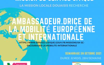 [Service Civique] – Ambassadeur·drice de la mobilité européenne et internationale – Mission locale Douaisis