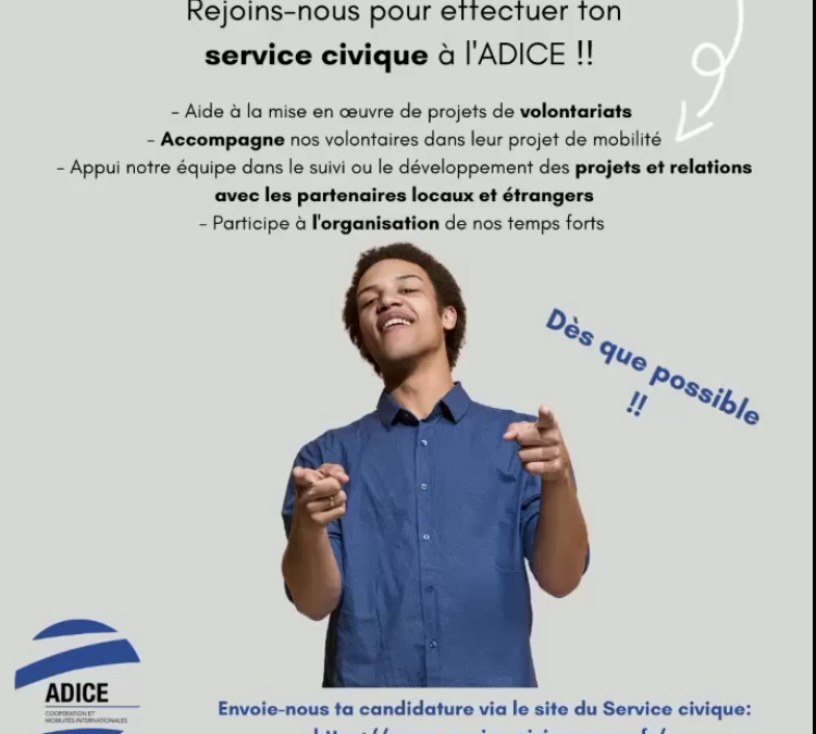 [Service Civique] – Appui aux activités liées à la coopération et à la mobilité internationale – ADICE Roubaix